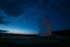 Old Faithful At Sunset